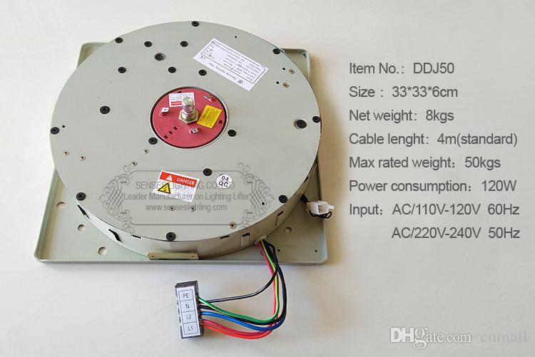 50KG 100KG 150KG Interruptor de pared + Control remoto de iluminación Lifter Araña Lámpara de elevación Cabrestante Sistema de elevación de luz Motor de la lámpara 4-10M Cable
