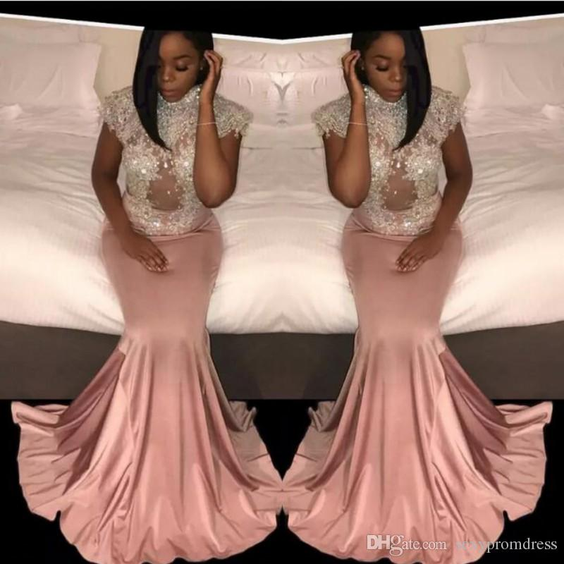 d22b021af71 Sequins Beaded High Neck Prom Dresses 2k17 Dusty Pink Mermaid Evening Gowns  Cap Sleeves Waist See Through Cocktail Formal Party Vestidos Low Back Prom  ...