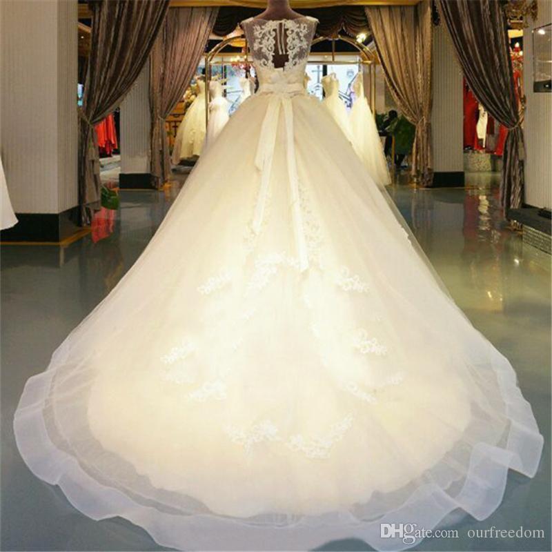 Real Luxurious Wedding Dresses 2019 New Royal Train Princess Vestido De Novia Pearls Beading Sparkling Crystal Vintange Bridal Gowns