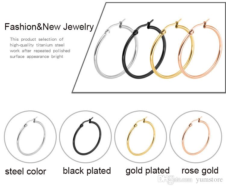 316 Stainless Steel Round Earrings Simple Hoops Hollow 18K Gold Plated Rose Gold Plated Multi Color Anti-allergic Earring For Women