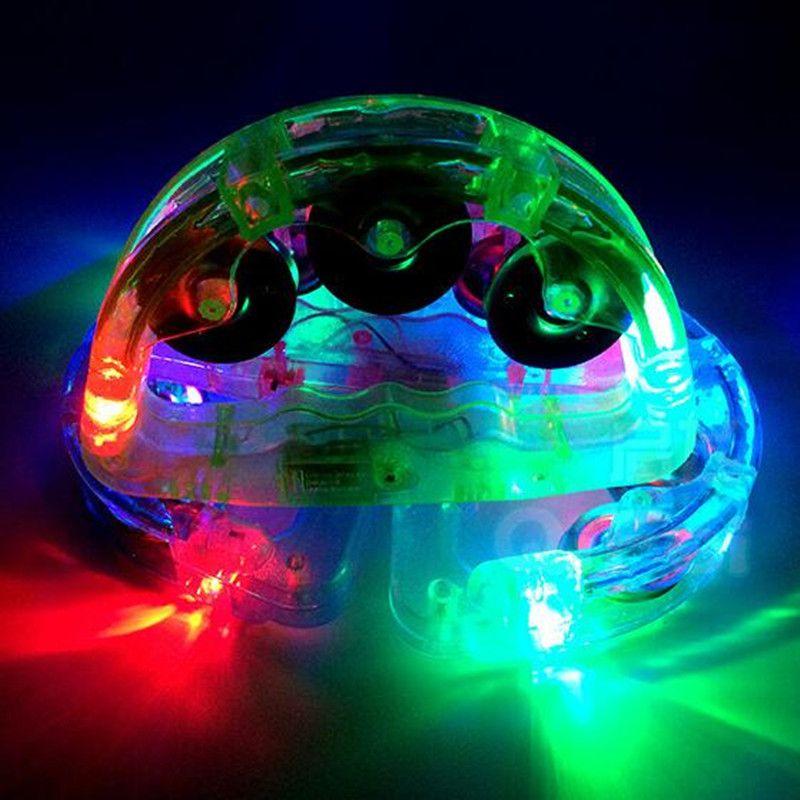 LED lampeggiante Tambourine Rattle Bell Bell Bambini accendi il giocattolo luminoso KTV Bar Decorazione Decorazione Glow Luci LED Forniture feste