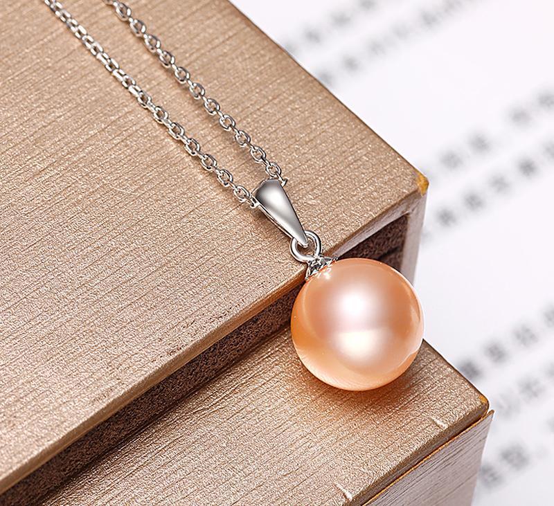 YHAMNI роскошный оригинальный безупречный Розовый жемчуг кулон ожерелье ювелирные изделия для женщин настоящее твердое серебро 925 свадебное заявление ожерелье XF002