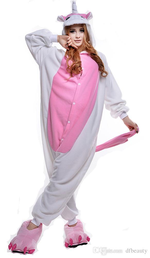 2018 Unisex Adult Unicorn Onesie Animal Pajamas One Piece Cosplay Costumes Kigurumi Pajamas Women and Men Sleepwear Homewear