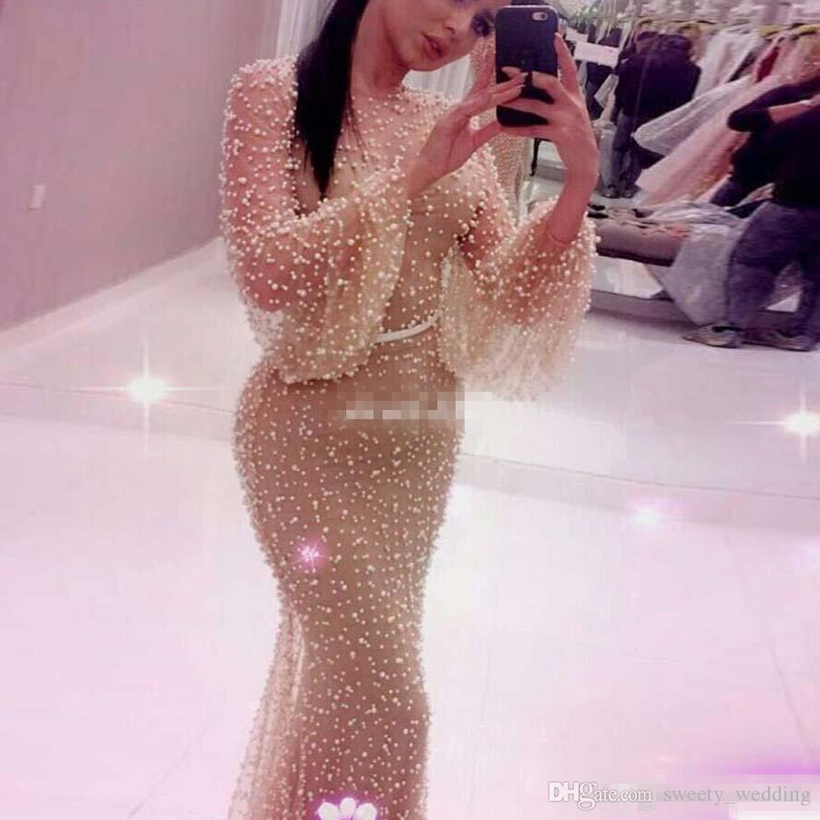 Luxury Heavy Pearls Prom Dress 2017 Mermaid Plus Size Formal Long Sleeves High Quality Mermaid Evening Dresse Champagne Lining Pageant Gowns