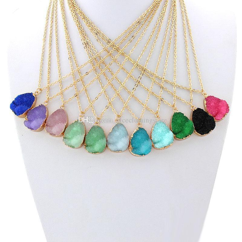 Hot Popular Collana Resina Waterdrop Crystal Acciaio inossidabile Geometria Collane vari i Ideale Lady Mix Colori