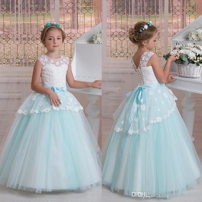 Weiße und blaue Blumenmädchenkleider für Hochzeit 2020 Jewel Sleeveless Lace Applique Ballkleid Mädchen Pageant Kleider Kinder Party Kleider