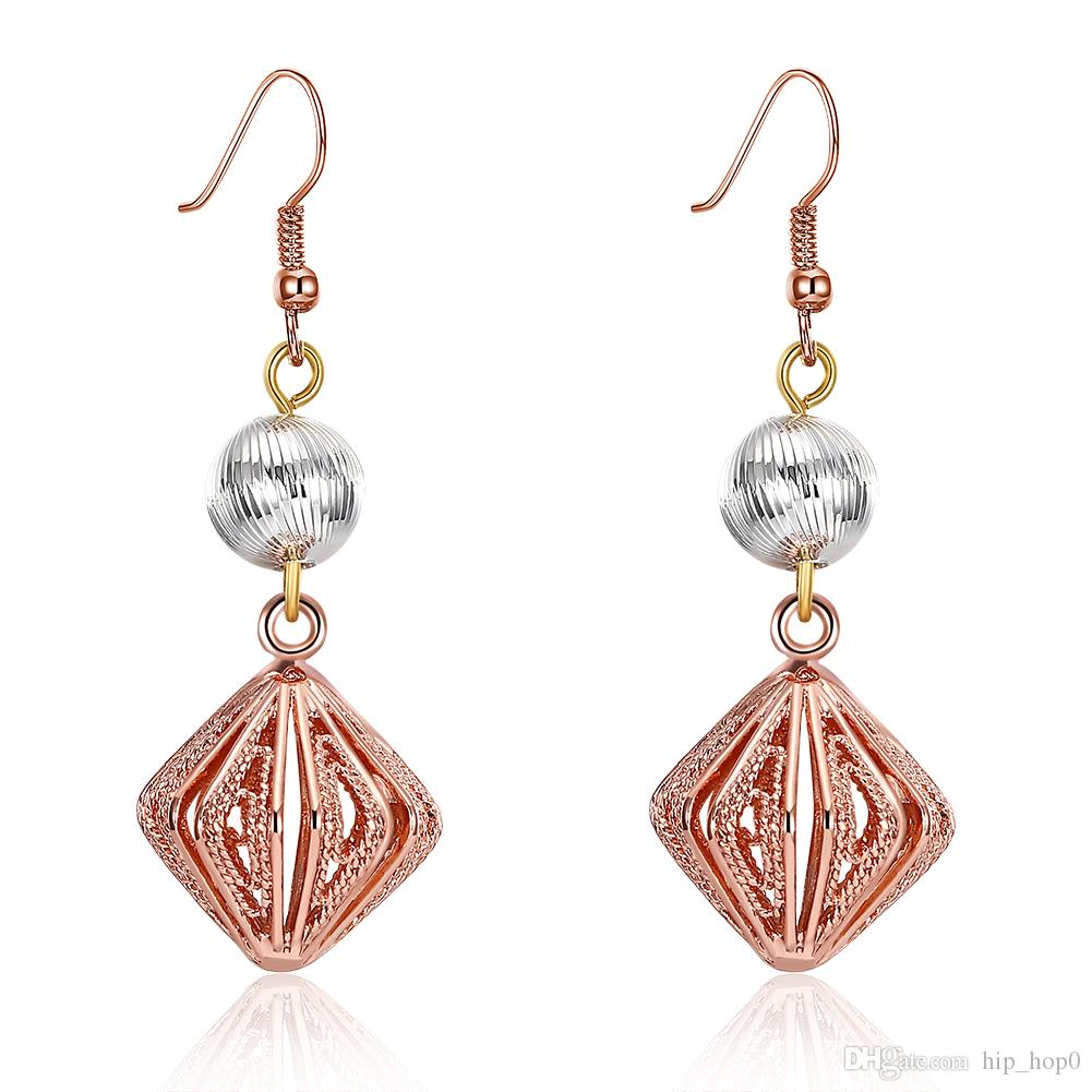 2019 Rose Gold Color Hook Earring Women Beautiful Drop Earrings Geometric  Ball Square Long Earring Jewelry Indian Fashion Girl Party Accessories From  ... 1b56ba0a890f