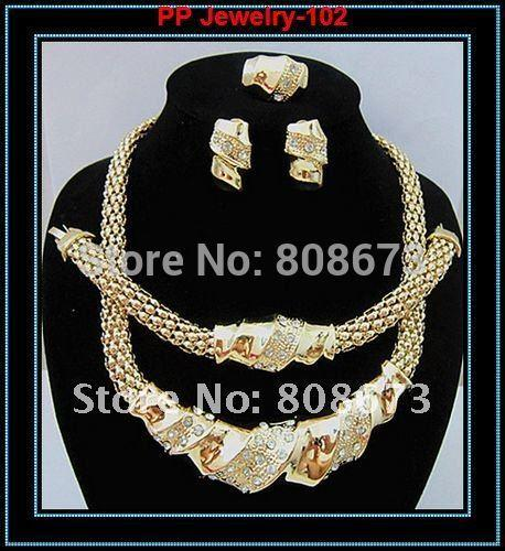 100% Top Quality Guarantee!!24K Gold Filled Popular Necklace Earring Bracelet Ring African Fashion Women Big Jewelry Sets