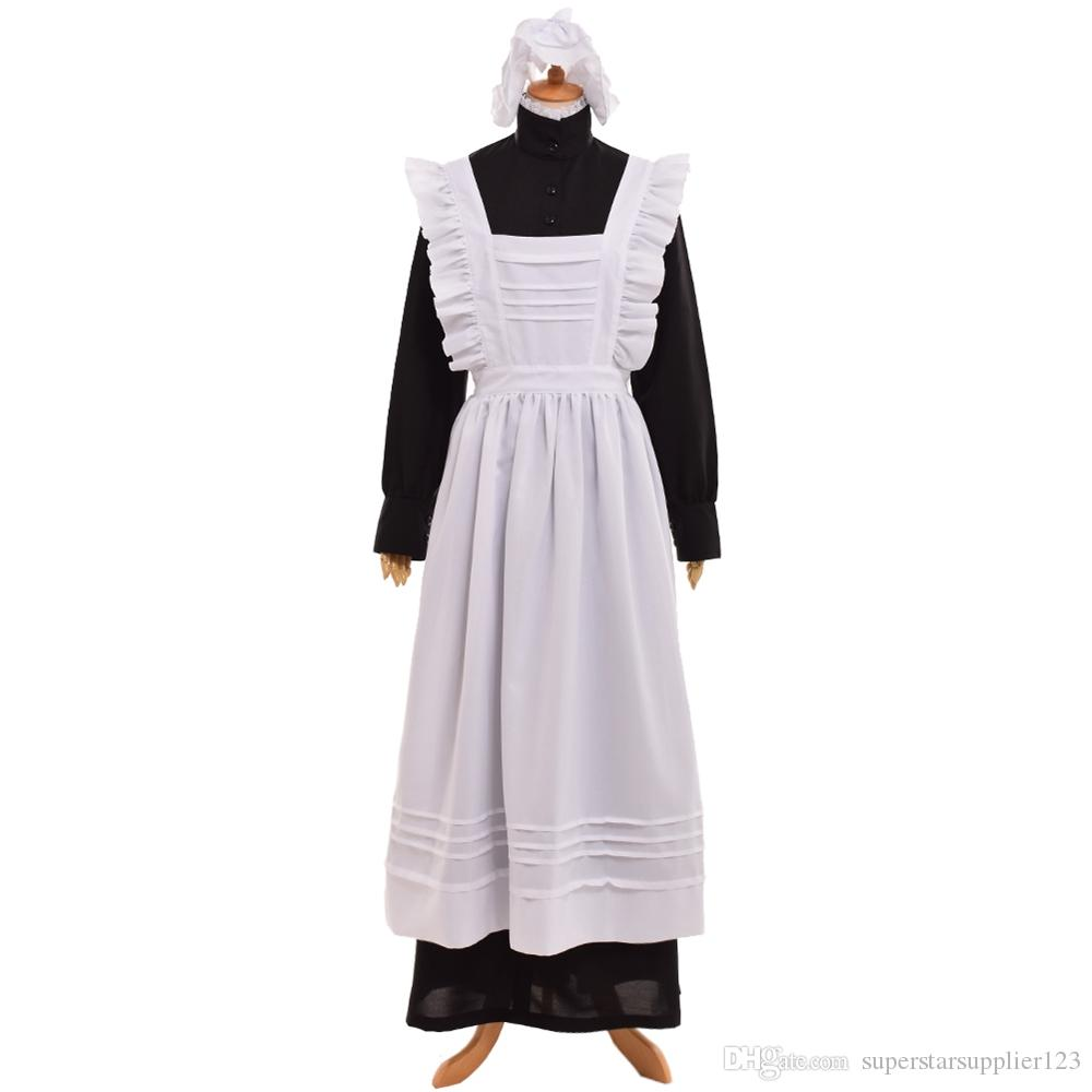 British Vintage Servant Black Walking Dress White Maid Apron Costume Victorian Edwardian Housekeeper Cosplay Fast Shipment Costumes For Groups Of 5 ...  sc 1 st  DHgate.com & British Vintage Servant Black Walking Dress White Maid Apron Costume ...