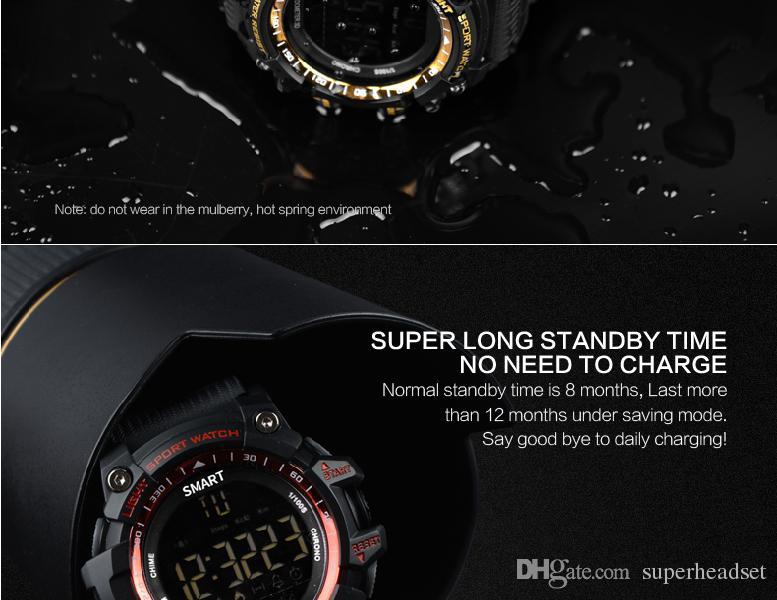 Bluetooth смарт часы жизнь водонепроницаемый пульт дистанционного управления шагомер спортивные часы будильник секундомер наручные часы длительным временем ожидания