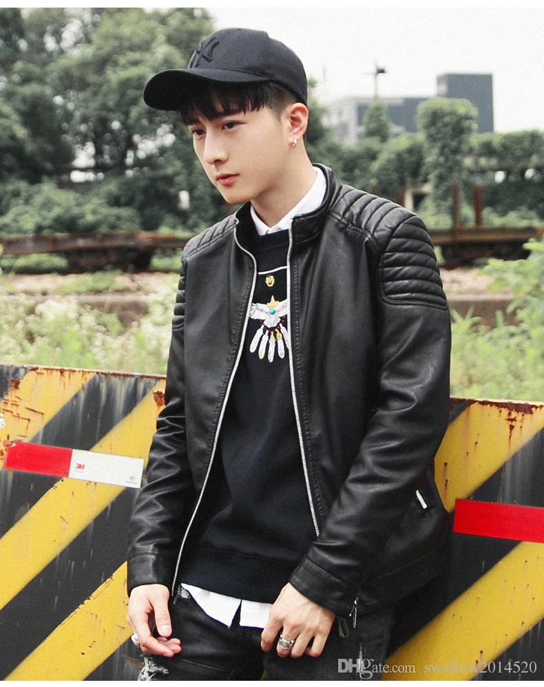 new arrived winter autumn fashion mens Designer Brand black red blue leather jacket slim fit jackets for mens motorcycle clothes