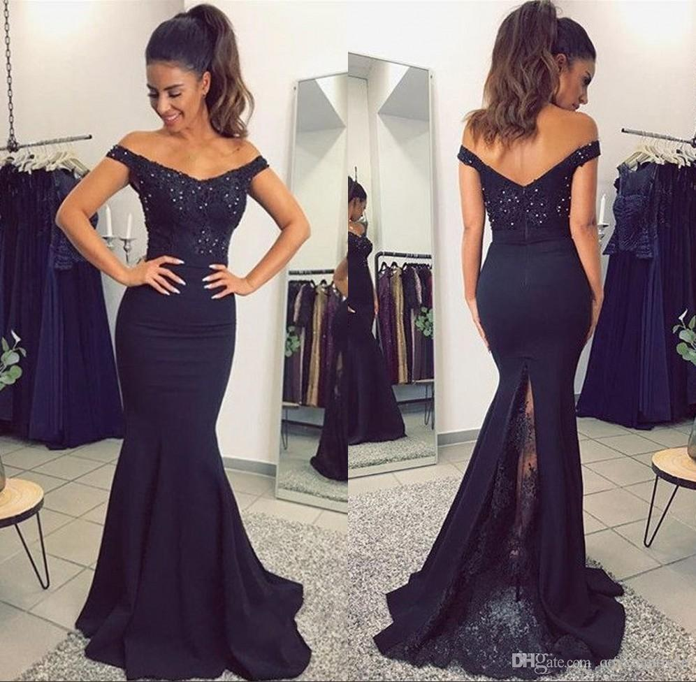 2018 Africani Blu Navy Abiti da sera Abiti da sera Plus Size lungo paillettes Sexy Backless economici abiti da festa Party Dress
