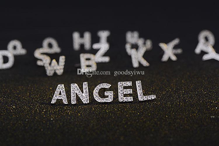 925 Silber Weiß Gold A-Z Neueste 26 Buchstaben Kristall Ohrstecker Korea Stil Mode hochzeit ohrringe Für Frauen Ohr cc Schmuck
