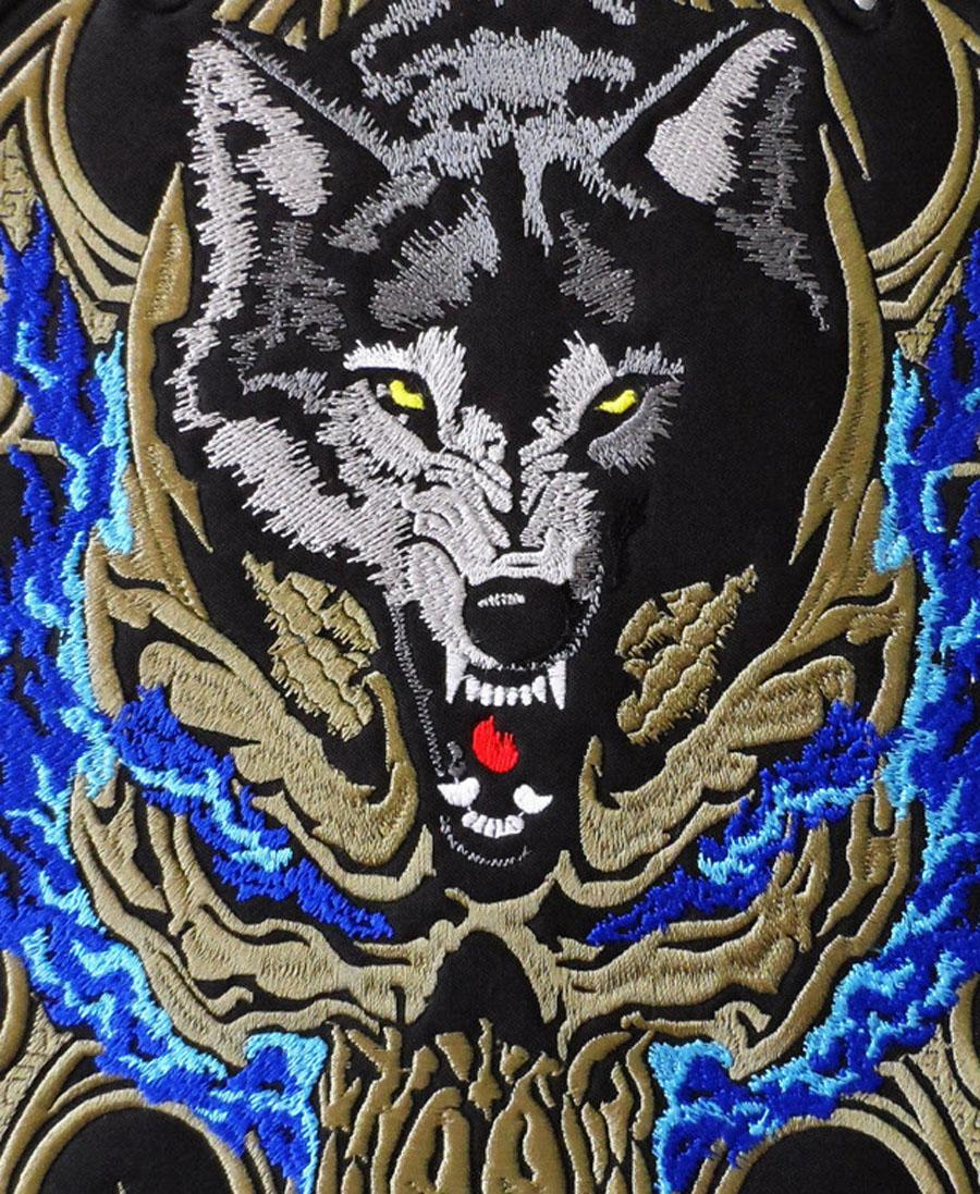 ¡Gran venta! Envío gratis lobo bordado hierro en cosido bordado motorista chaqueta trasera cráneo parche