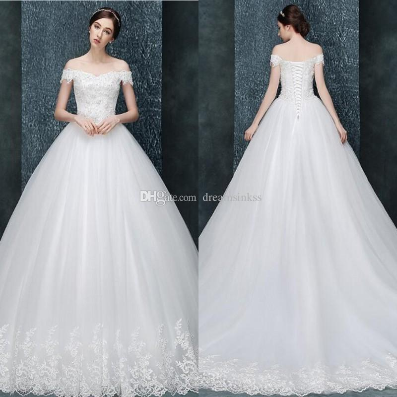 2017 Cheap Lace Ball Gown Wedding Dresses Off The Shoulder Beads ...