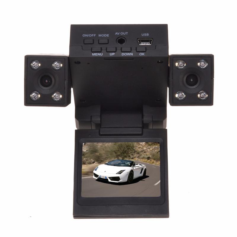 H3000 Dual Lens Car DVR with 8 LED IR Night Vision Cameras 2.0 inch TFT LCD Rotary Screen&Rotary Lens Car Black Box Car Recorder