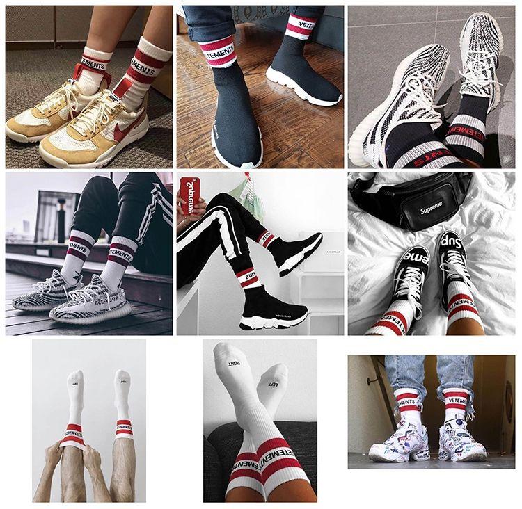 3b5a21f75 17FW Vetements Basketball Socks Red Stripe White Black Cotton Socks ...