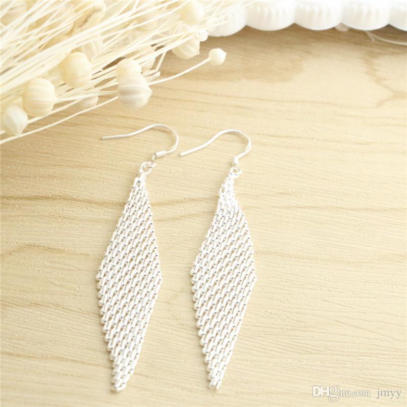 Jmyy mulheres jóias 925 de prata dangle lustre flor geometria graciosa oscila brincos para presente namorada