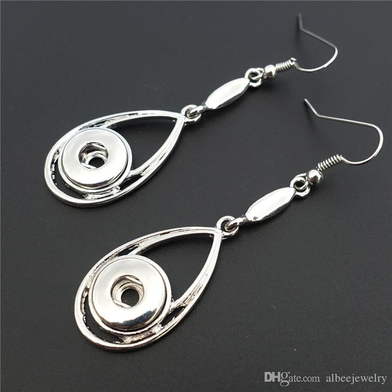 Fashion Silver Metal Ginger 12mm Snap Buttons Water Drop Earrings Jewelry For Women Girls