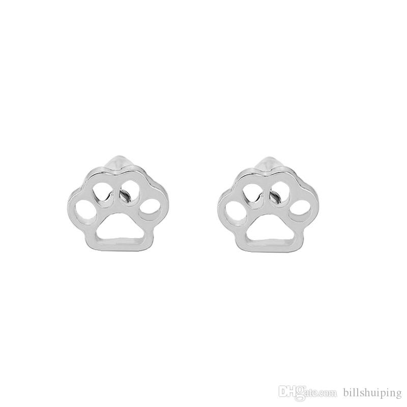 hollow pet cat dog lover paw print stud Puppy cute animal footprint gold silver plated earrings