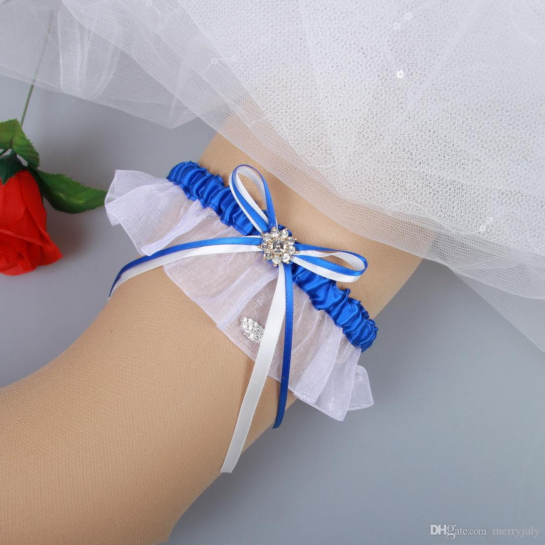Royal Blue Prom Garter Something Blue Wedding Garter Bridal Garter with Rhinestones Bridal Leg Garters Prom Garters
