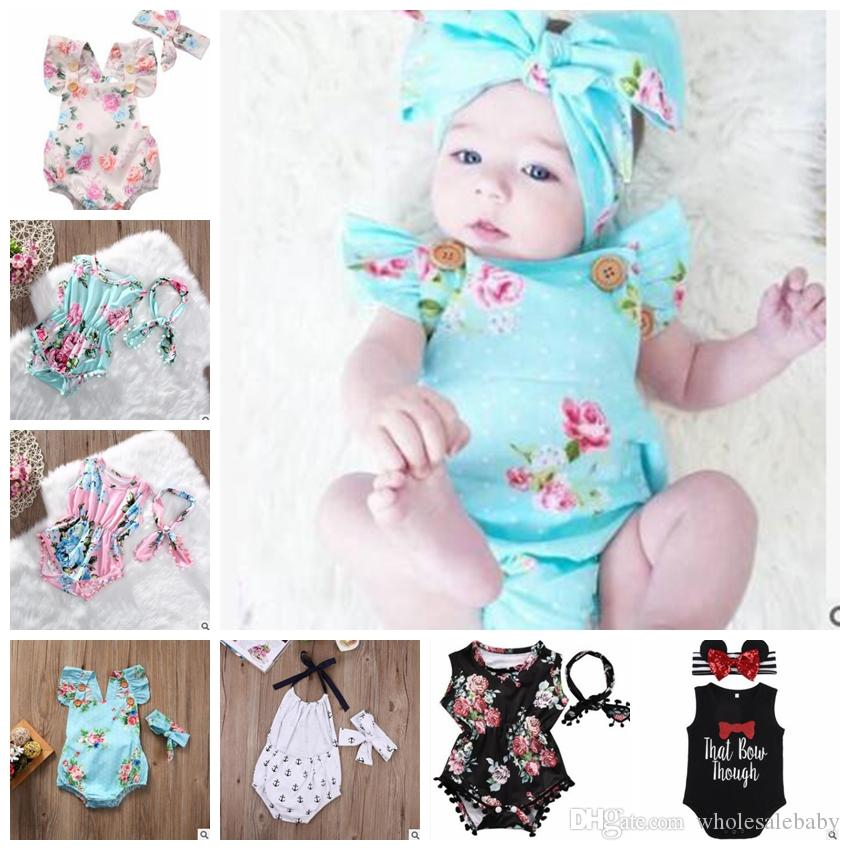 a7af2ff5a96 Baby Clothes INS Baby Rompers Print Flower Outfits Fashion Summer ...