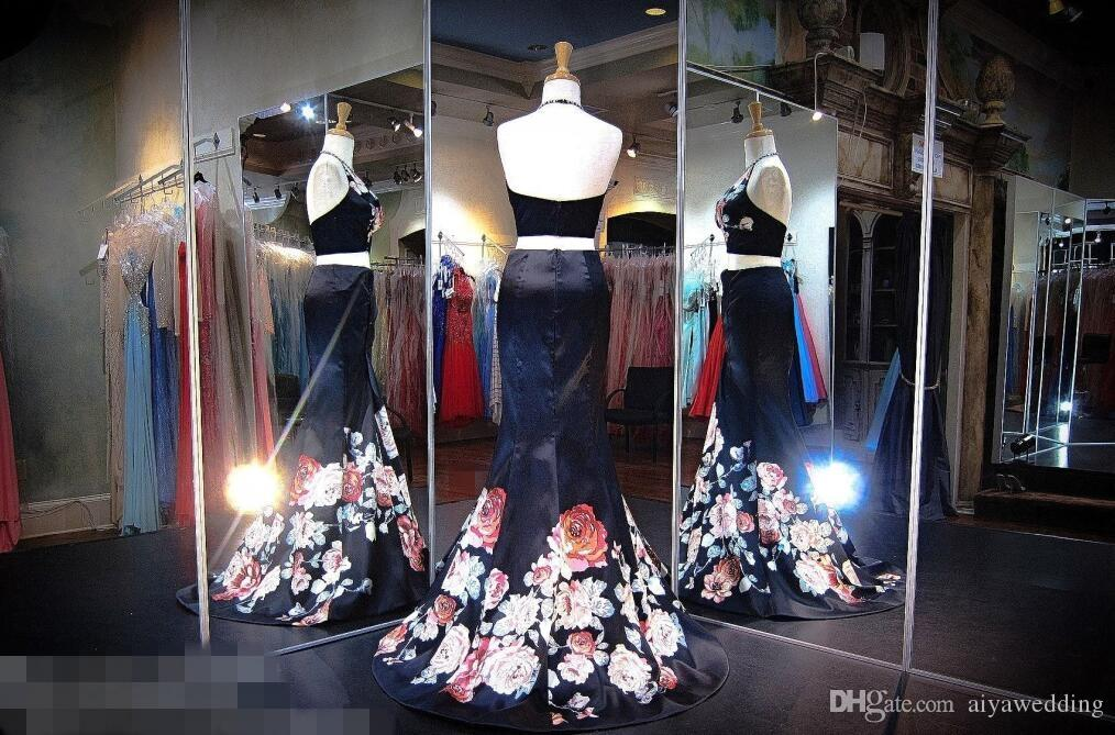 Mermaid Long Prom Dresses Halter Dark Navy Satin Flower Floral Printed Sexy Trumpet Formal Evening Gowns 2019 Real Photos Cheap New