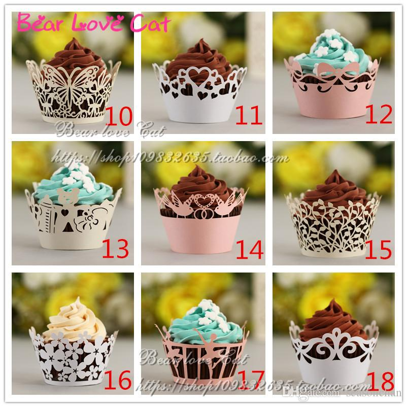 Many Design Wedding Cake Party Decorations cupcake liners Customized, Fancy Die Cut Royal Lace Flower wrappers Paper Craft Party Favor