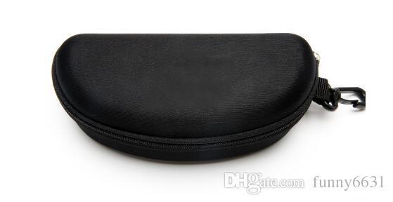 Hard Case Zipper gancho Sunglasses Caixa de compressão óculos caso Black Metal de plástico Sports vidros de sol frete grátis caixa caso