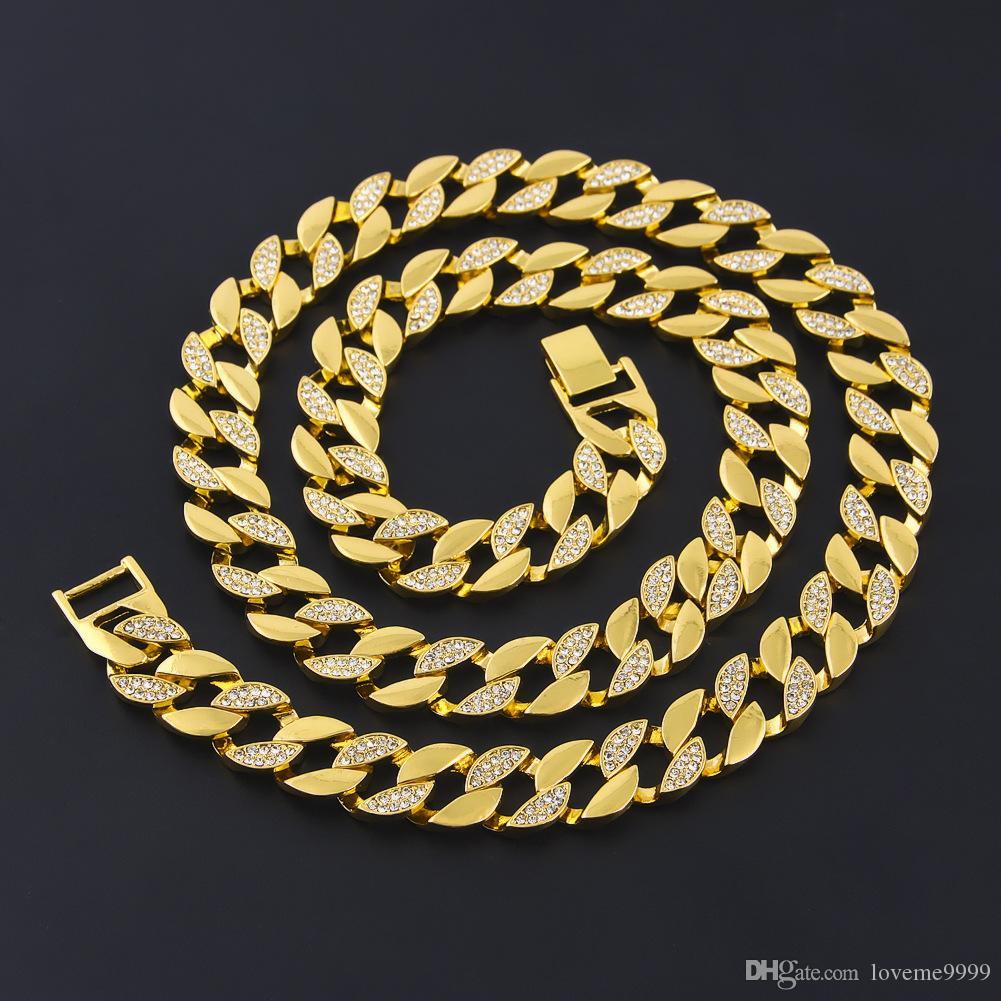 Высокое качество хип-хоп замороженный вне имитация Алмаза позолоченные цепи ювелирных изделий ссылка Cunban Майами Cunba ожерелье женщины мужчины ювелирные изделия