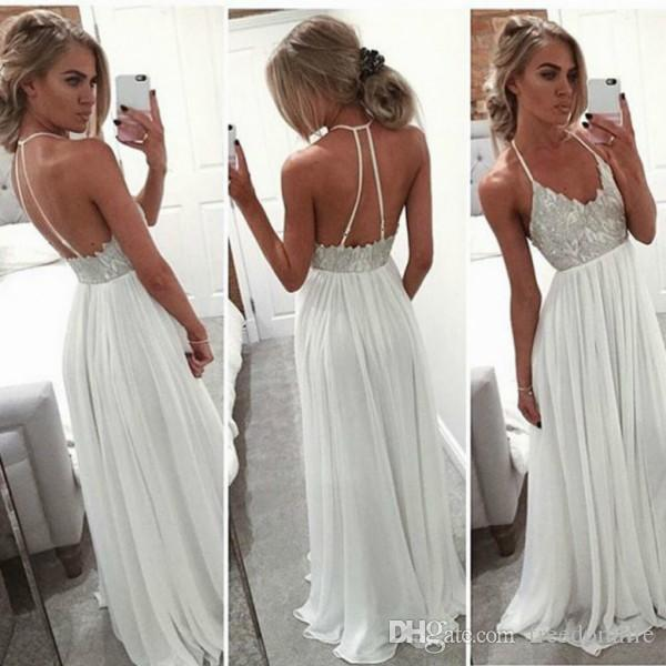 6c90119594 White Chiffon Boho Prom Dresses For Graduation Long 2017 Halter Sexy Back Formal  Evening Gown Cheap Party Dress Cheap White Prom Dress Formal Dresses For ...