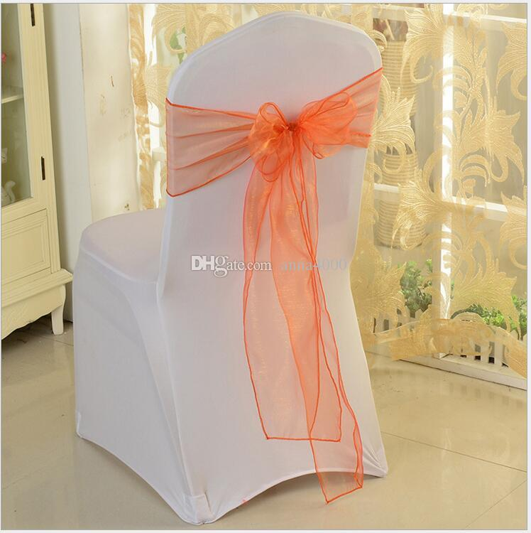 Wedding Chair Sashes Chairs Organza Bows For Wedding Chair Sashes For Wed Events Supplies Party Decoration Chair Cover Sash Various Colors