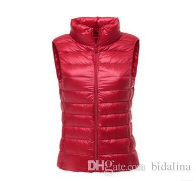 90% de pato branco para baixo mulheres colete de inverno Ultra Leve Pato Para Baixo colete sem mangas Jaqueta colete outono vermelho preto branco azul colete