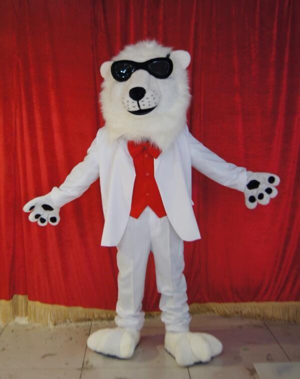 Alta qualidade Real Pictures Deluxe leão branco traje da mascote trajes de anime publicidade mascotte tamanho adulto direto da fábrica frete grátis
