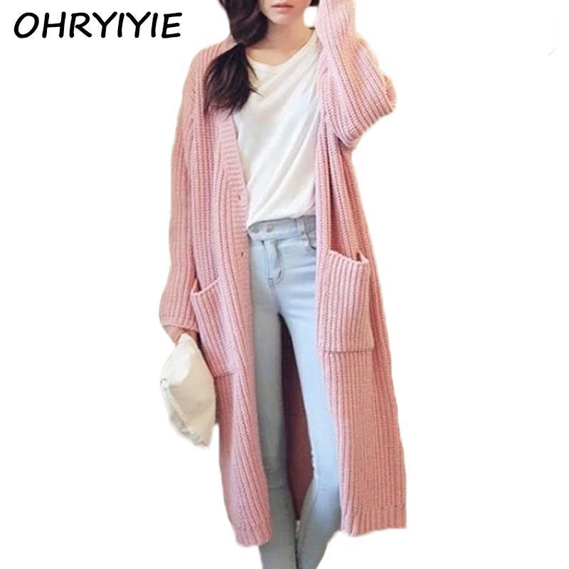 2018 Ohryiyie Pink White Long Cardigan Women 2017 Spring Autumn ...