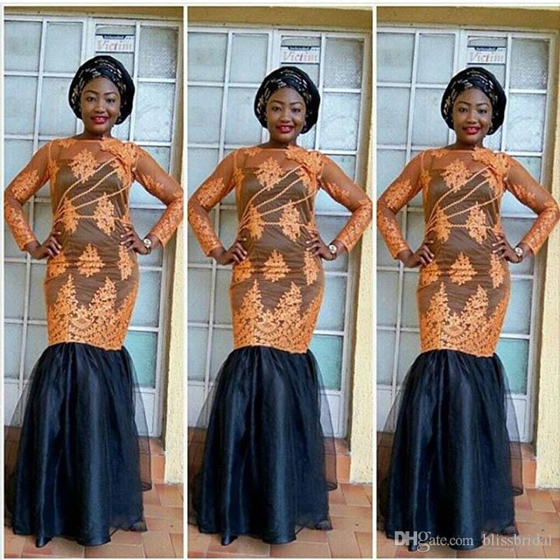 2017 Nouvelle Arrivée À Manches Longues Aso Ebi Sirène Abaya Afrique Robe De Soirée Applique Sheer Tulle avec Doublure Dubaï Robes De Bal