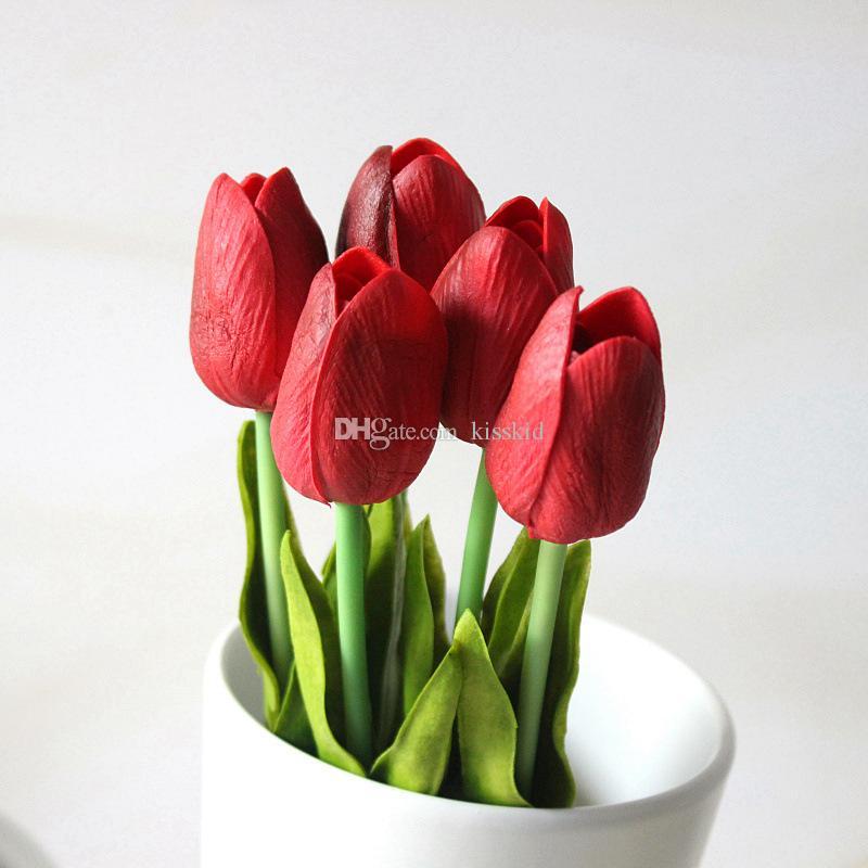 Artificiale Real Touch PU Tulipani Fiore Singolo Stelo Bouquet Fiori finti Camera di nozze Home Office Table Decor K9035