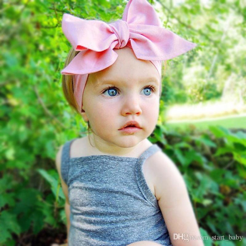 Le bambine grandi arco Fasce fascia capelli infantile solido cotone bambini Accessori capelli 107.5 * 7cm / 42inch * 3inch