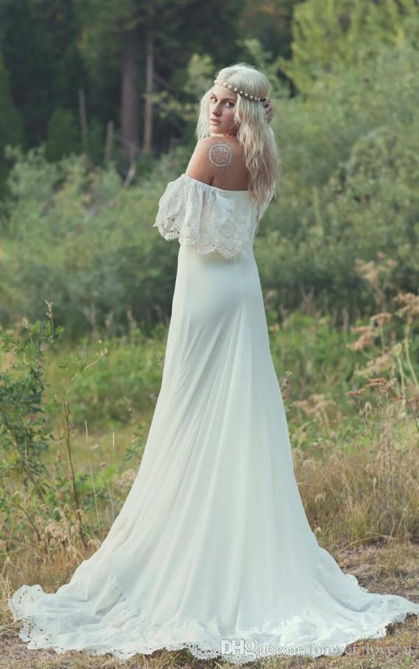 Vestidos de Novia Hippie с плечевой страны Богемное свадебное платье на линии пляж Boho свадебные платья с приемом поезда дешевое высокое качество