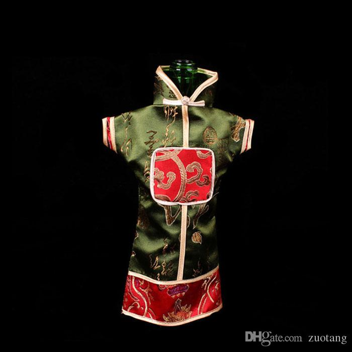 Unusually Vintage Chinese style Wine Bottle Cover Bag Floral Silk brocade Wedding Decor Bottle Clothes Packaging Pouch