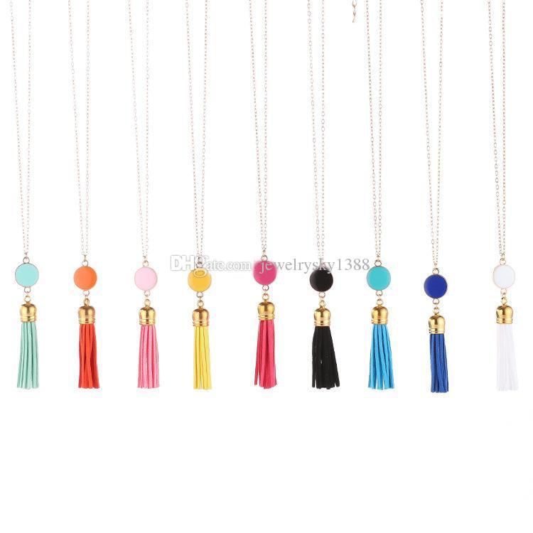 Personnalisé Initial Monogram Blanks Disque Acrylique Velvet Gland Longue Chaîne Pendentif Colliers Chandail collier pour Bijoux Femmes Personnalisé