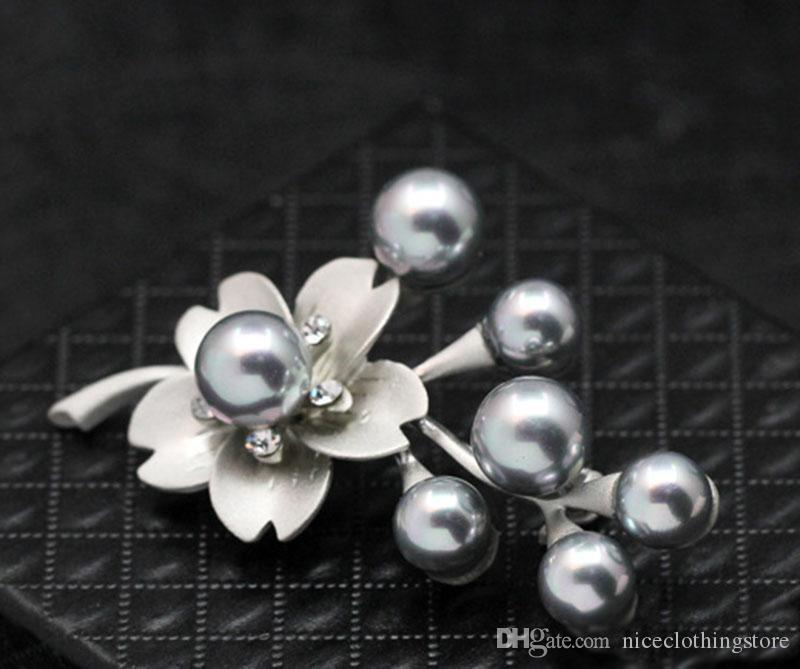 crystal Pearl Flower Brooches For Women 2017 Fashion Nature Stone Brooches Pins Vintage Bauhinia Scarves Buckle Pendants