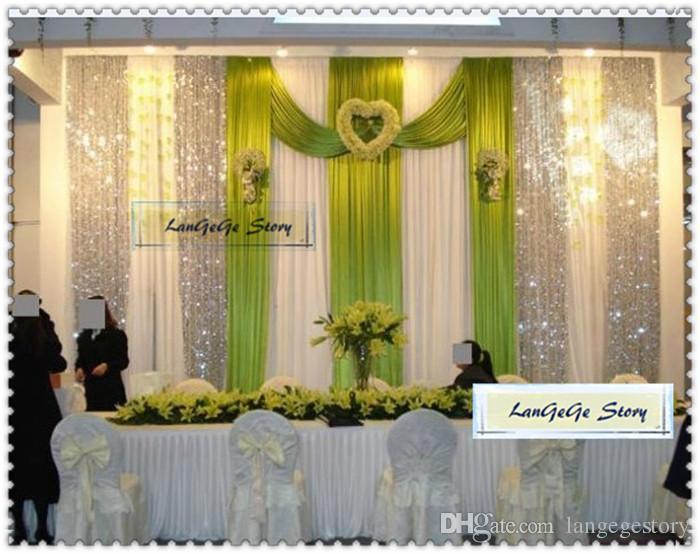 4 M * 4 M gelo marfim fundo de seda com painéis de turquesa swags para casamento / banquete cortinas / 13ft * 13ft / cor / tamanho pode personalizado