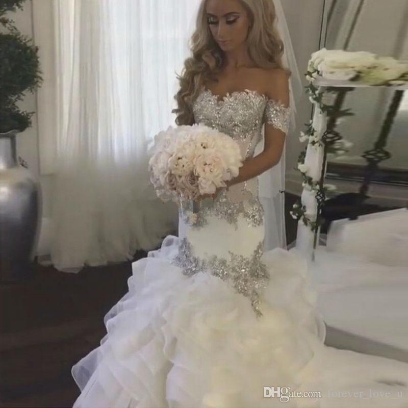 Sexy Off The Shoulder Illusion Mermaid Wedding Dress Sparkly Beaded ...