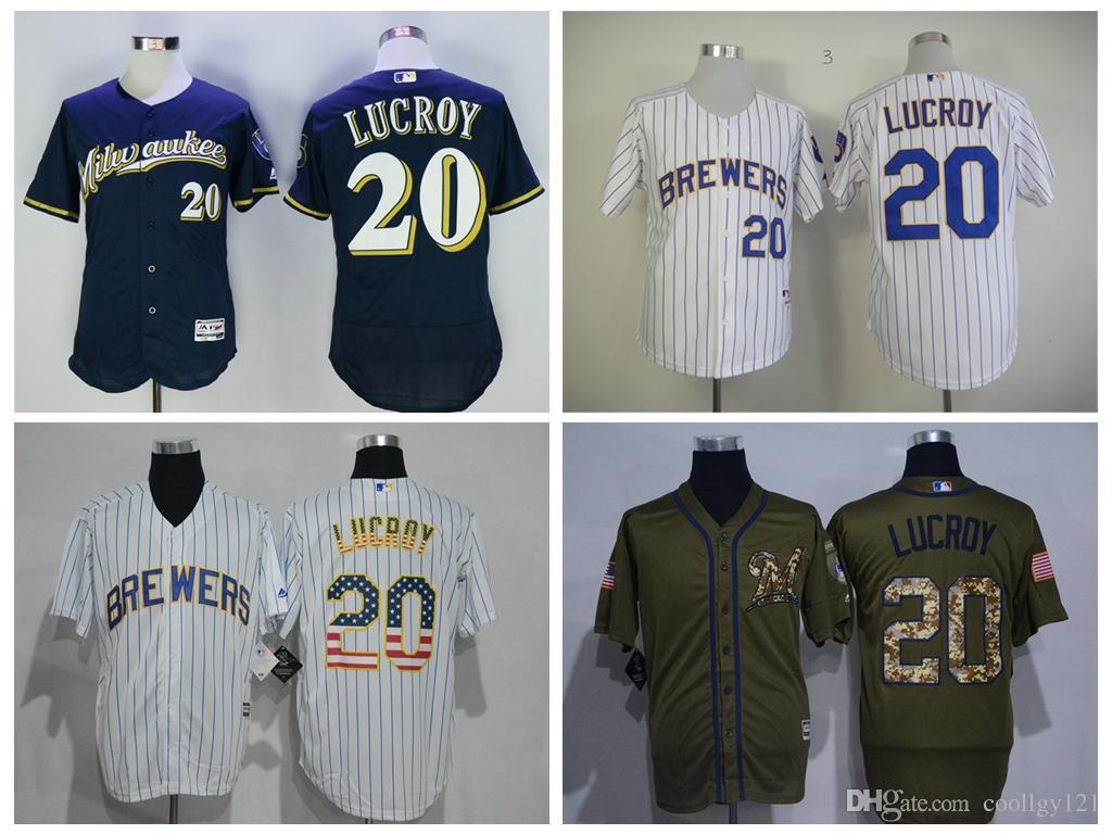 2636405c0 ... purchase 2017 cheap flexbase 20 jonathan lucroy jerseys uniforms  milwaukee brewers jonathan lucroy baseball jersey pinstripe