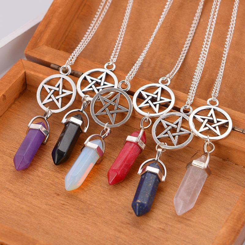 unique plated crystal products gold stone quartz pendants statement s healing colorful women collares pink large amethyst pendant necklace natural necklaces durzy