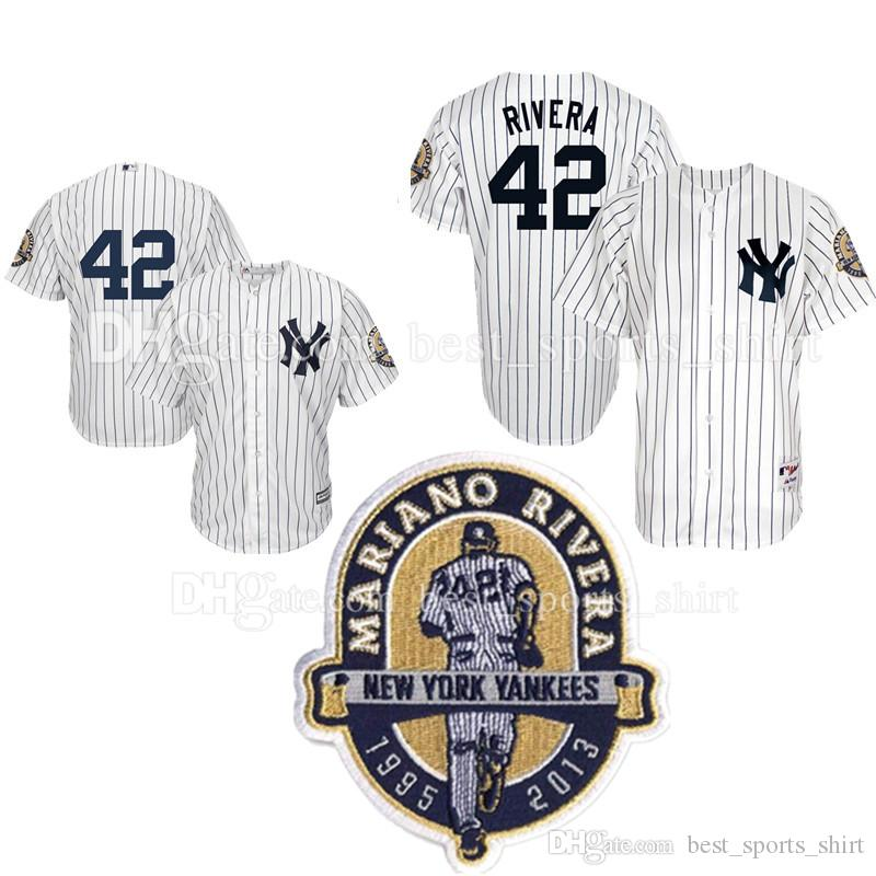 369a4d166 ... 2017 MenS New York Yankees 42 Mariano Rivera Majestic Home White  Replica Jersey With Commemorative Retirement ...