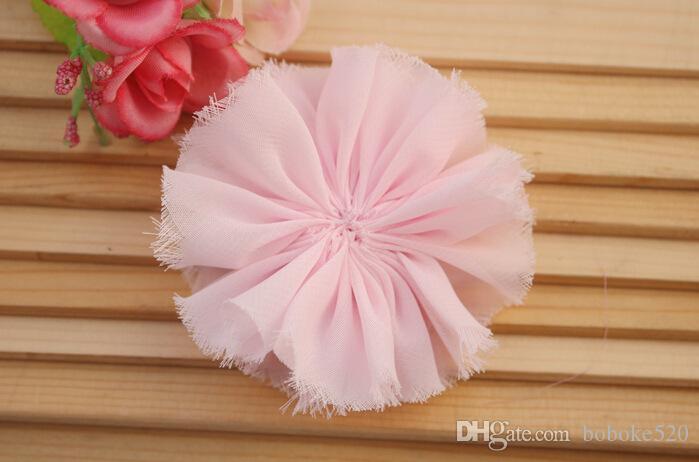 "2.9"" shabby Chiffon Flower head Tulle Lace Flowers baby gilrs hair accessory DIY, Fabric flowers Headwear"