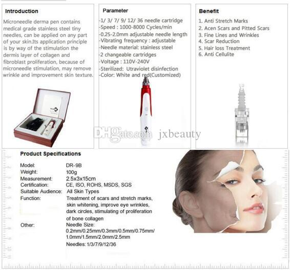Drop ship top quality MYM derma pen Auto Electric Derma Pen Stamp with Micro Needle Cartridges Anti Aging Facial Beauty
