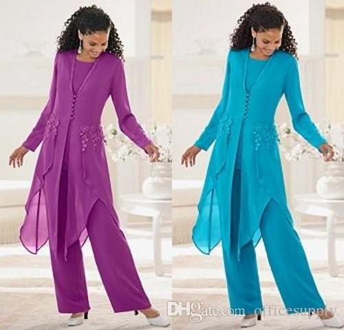 2019 elegante vestido púrpura de la madre de la novia mangas largas Cuello de la joya con volantes madre de la novia Trajes de pantalón Trajes de madre con chaqueta